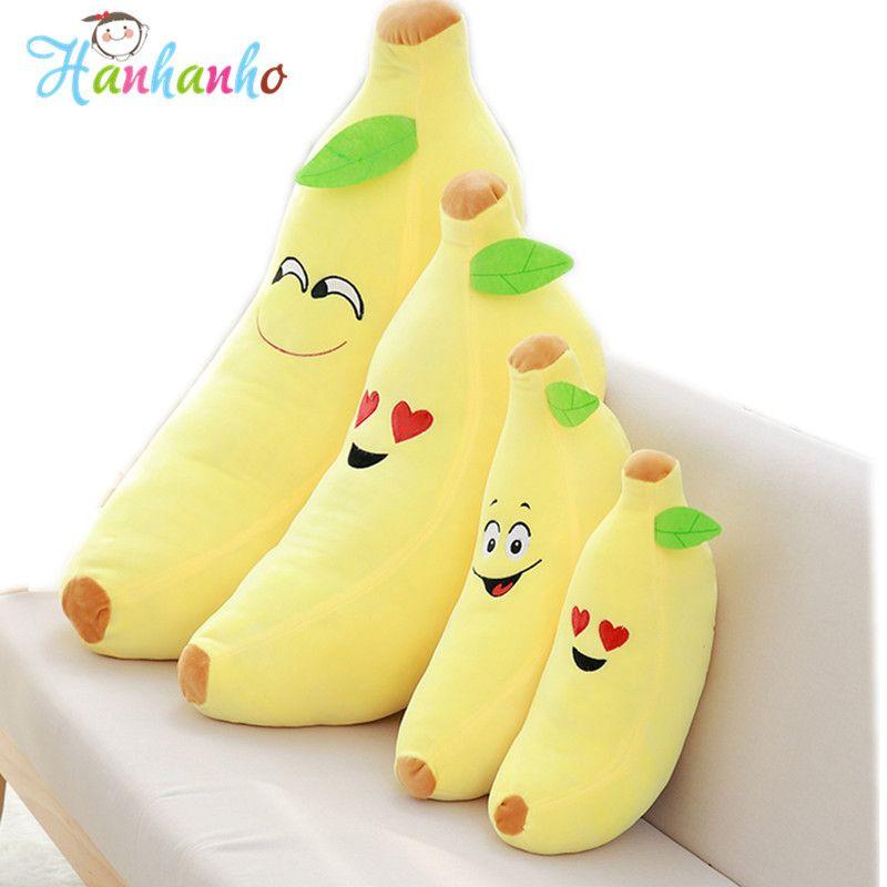 Emoji Smile Face Banana Pillow Funny Stuffed Bolster Cushions Emoticon Fruit Plush Toy Home Decoration