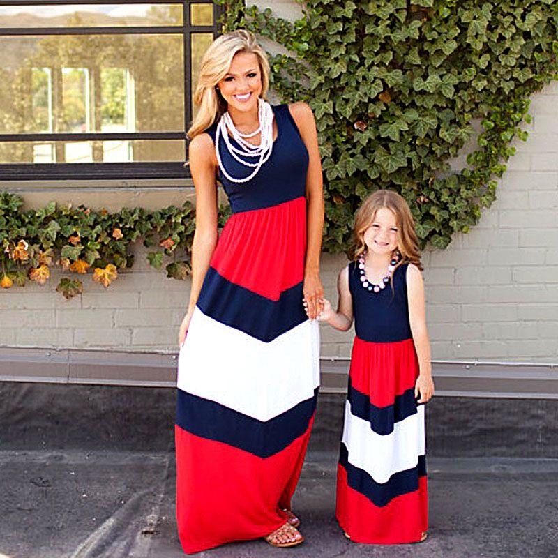 2018 Maman et moi famille correspondant mère fille robes vêtements rayé maman et fille robe enfants parent enfant tenues