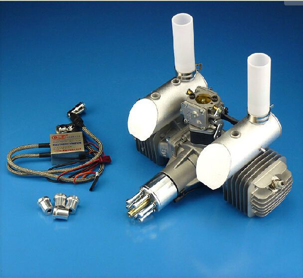 DLE111 111cc Twin Gasoline Engine W/ Electronic Ignition & Muffler For RC Plane