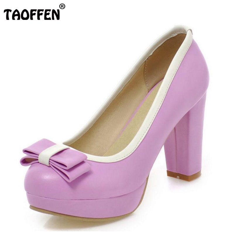 TAOFFEN High Heel Shoes Women Platform Round Toe Thick Heel Mixed Color Bowtie Pumps Daily Sweet Female Footwears Size 33-43