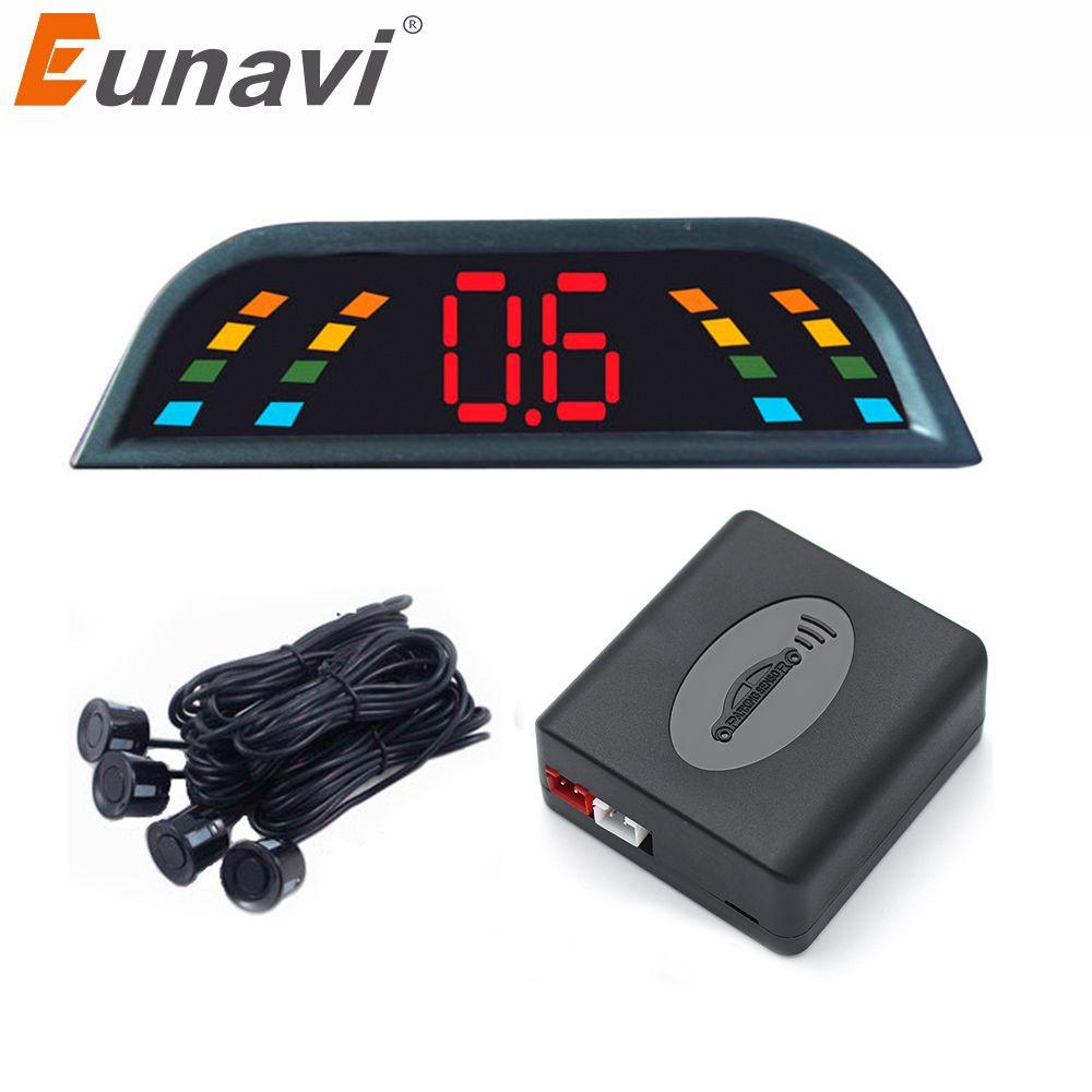 Eunavi Voiture Auto Parktronic LED Parking Capteur Avec 4 Capteurs Inverse De Voiture De Sauvegarde Parking Radar Moniteur Détecteur de Système de Rétroéclairage