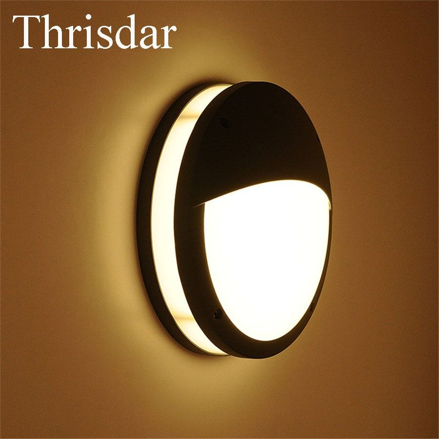 Thrisdar 12W IP65 Waterproof LED Wall Lamps SMD5730 Outdoor Nordic Balcony Stairs Garden Porch Light Engineering Villa Wall Lamp