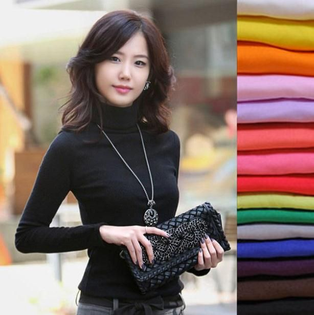 2018 High Elastic quality Fashion Autumn Winter sweater women wool turtleneck pullovers long sleeve big size women clothing 869