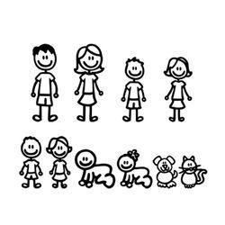 15*58 CM Cartoon una gran familia coche pegatinas moda vinilo coche accesorios decorativos negro/blanco