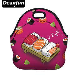 Deanfun 3D Imprimé Sushi Déjeuner Sacs De Mode Néoprène avec Fermeture Éclair pour la Nourriture Paquet Mignon de Bande Dessinée Étanche 50813