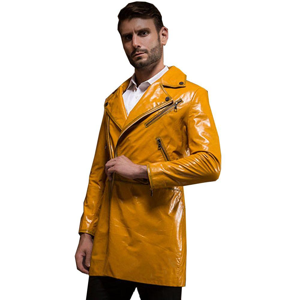 Fashion echtes leder schaffell kleidung des echten leders motorrad lässige medium-long einzel leder rind chromophous