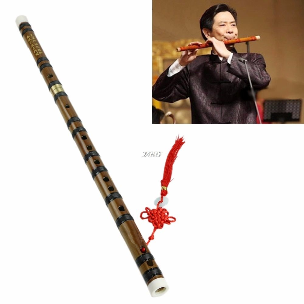 Chinese Traditional Musical Instrument Handmade Bamboo Flute in D Key AUG01_15