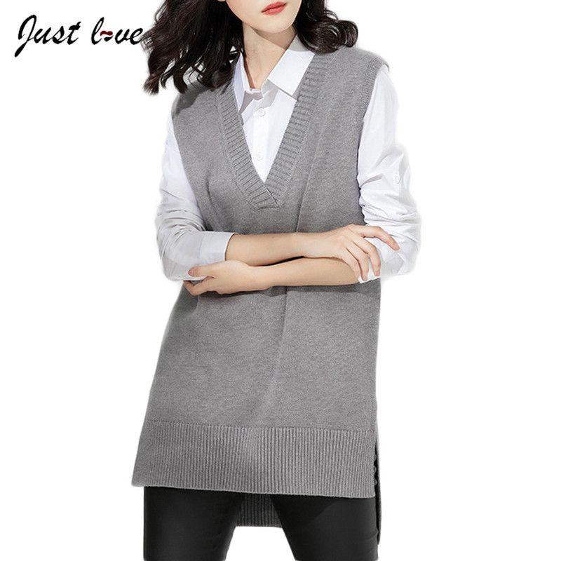 Sleeveless Sweater Vest 2017 Autumn Loose Vest  Side Split Grey Sweaters Vests Pullover Female V Neck Knitted Waistcoat Vest