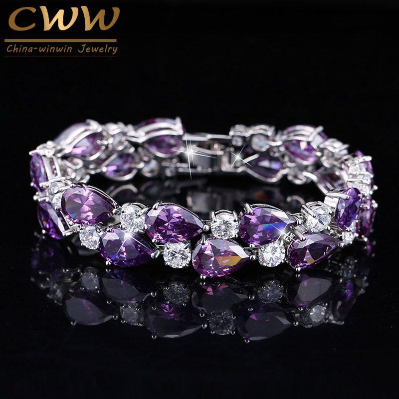 CWWZircons Designer violet cristal grand Mona Lisa Bijoux Bracelets Bracelets clair Zircon Bracelet Femme Bijoux de mode CB126