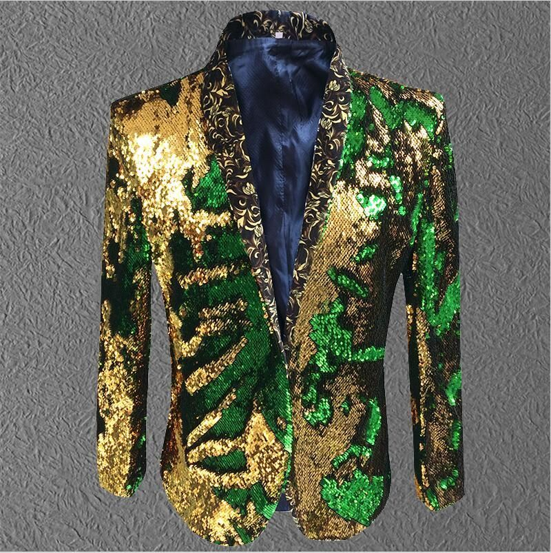 jacket men sequin Gold Green Blazer Men Suit Coat Male Costume Prom Wedding Groom Outfit Singer Black Party Stage