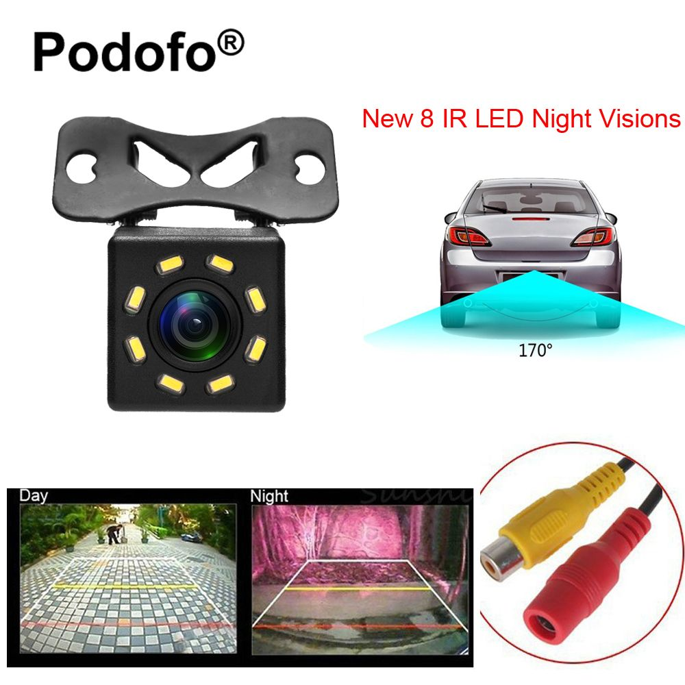 Podofo 8 LED Night Visions Car Rear View Camera Wide Angle HD Color Image Waterproof Universal Backup Reverse Parking Camera