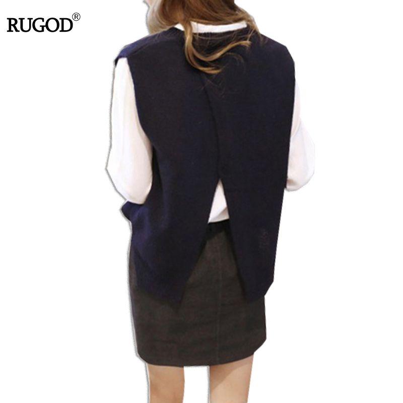 Slim Backless Cahmere Vest Knitted Sleeveless Sweater Womem 2018 Spring Solid Vest Jumper Solid Vesten Dames Open Slit Design