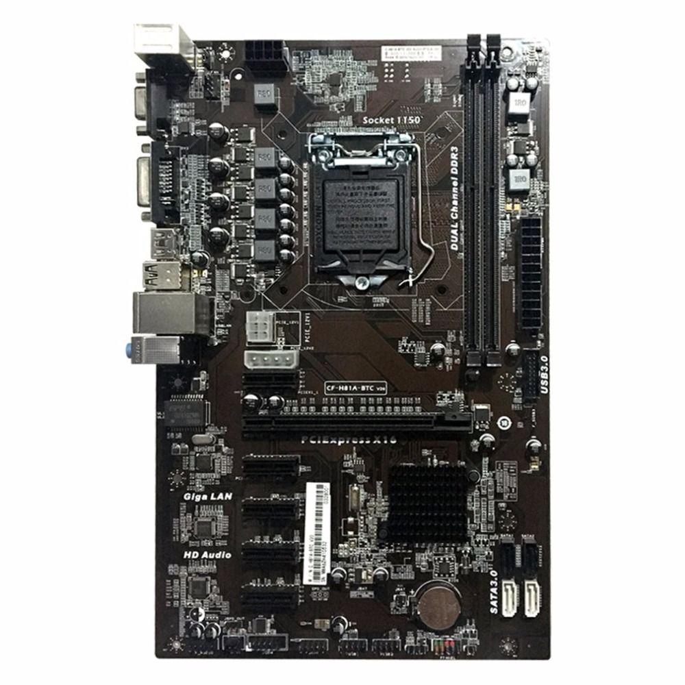 Carte mère H81A-BTC V20 Mineur ATX Conseil LGA1150 Socket Processeur Pas LGA1155 Intel DDR3 H81 Carte Mère Pour L'exploitation Minière