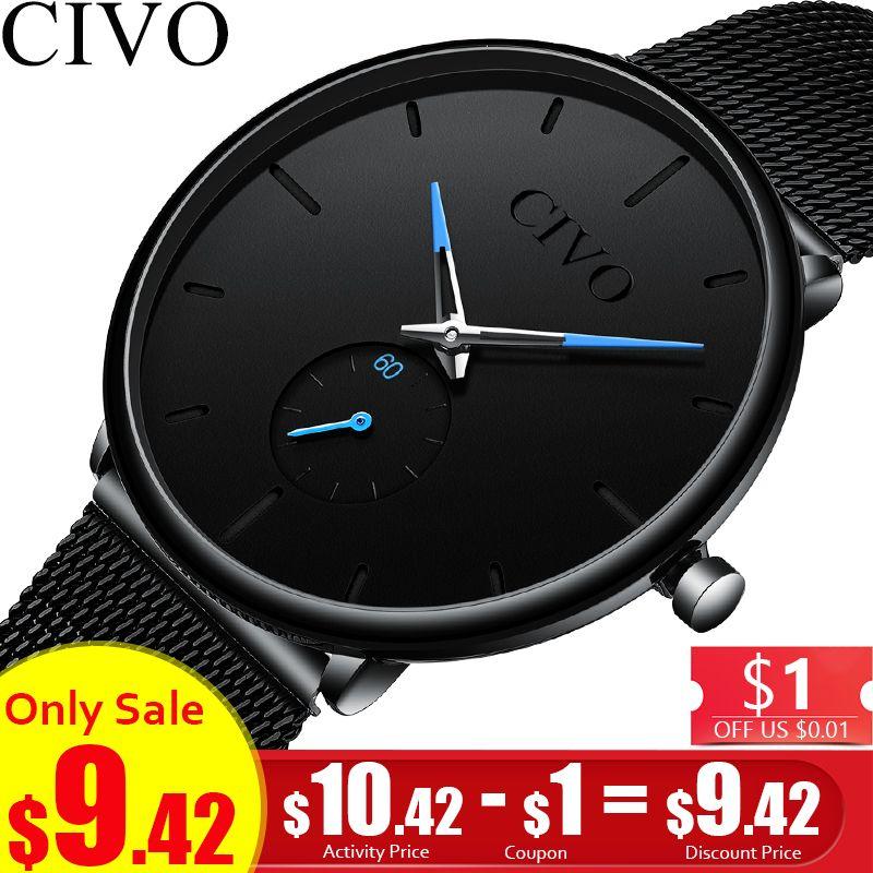 CIVO montre de mode Hommes Étanche Mince bracelet maille Minimaliste montres-bracelets Pour Hommes Quartz montre de sport Horloge Relogio Masculino