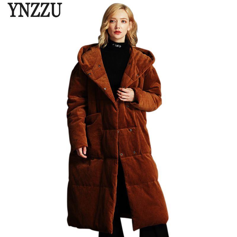 YNZZU High Quality 2018 Winter Women's Down Jacket Vintage Velvet Extra Long Duck Down Coat Loose Snow Overcoat Plus Size O653