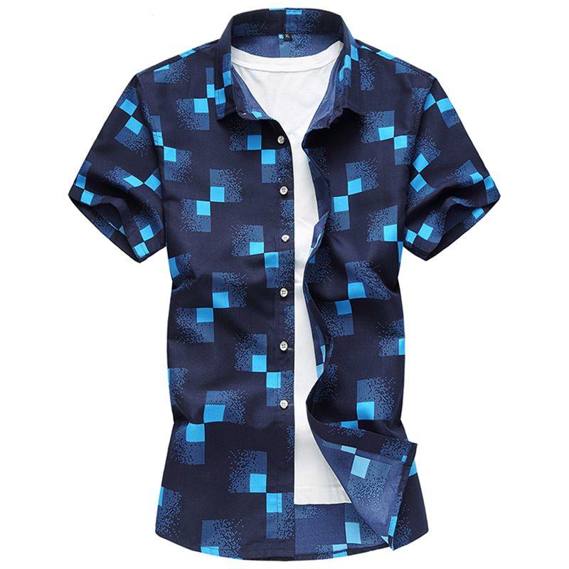 2018 haute qualité hommes chemises décontracté Slim Fit à manches courtes chemises hommes robe Camisa Social Masculina Manga Longa mode Plus 7XL