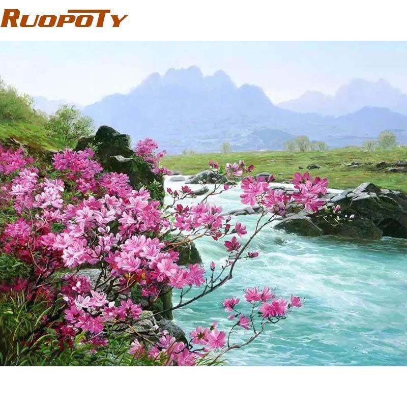 RUOPOTY cadre fleur rivière paysage peinture à la main par numéros peint à la main peinture à l'huile maison mur Art photo pour la décoration de la chambre