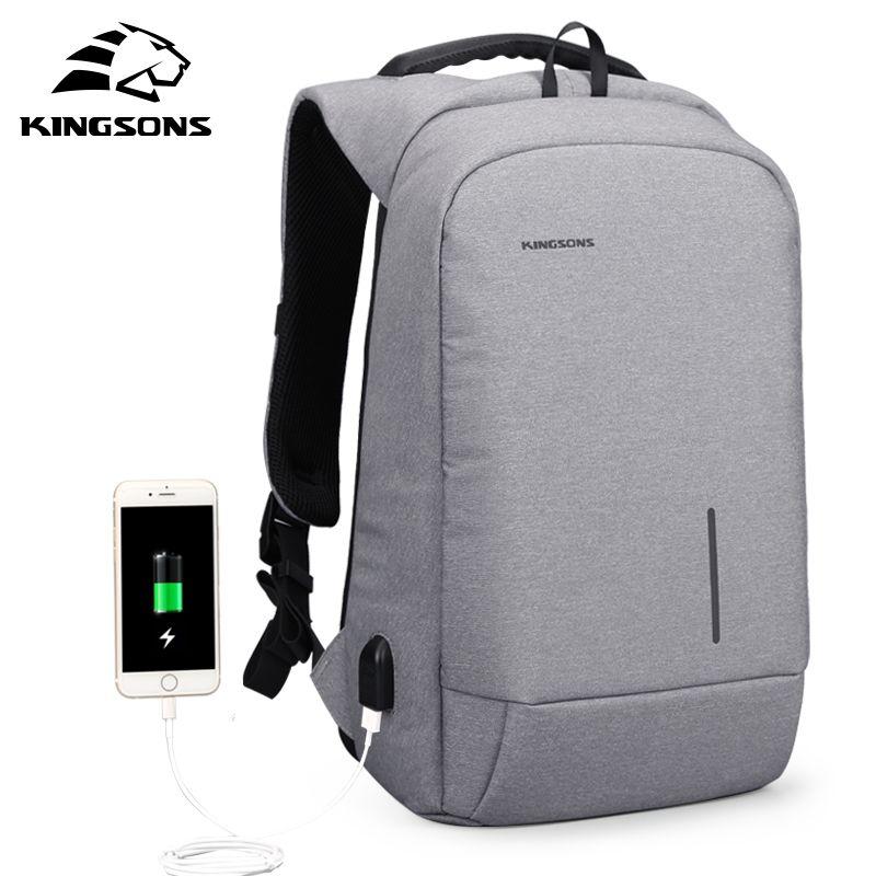 Kingsons Anti-theft Lock Rucksack Telefon Sucker Laptop Taschen 13''15'' USB Lade Rucksäcke Schule Tasche männer Schulter Taschen