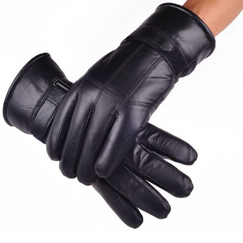 Мужские Зимние Перчатки Кожаные Перчатки Модные Овчины Gentmen Luvas Guantes Mujer Зима Новый 2016 Утолщаются мужская Натуральная Кожа перчатки