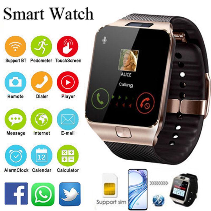 Relogio inteligente 2018 Bluetooth montre intelligente hommes Intelligent numérique Sport Smartwatch DZ09 podomètre pour Smartphone Android