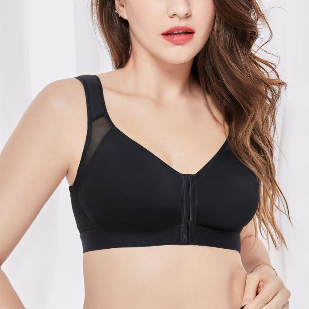 Women's Full Coverage Front Closure Wire Free Non-padded Back Support Bra