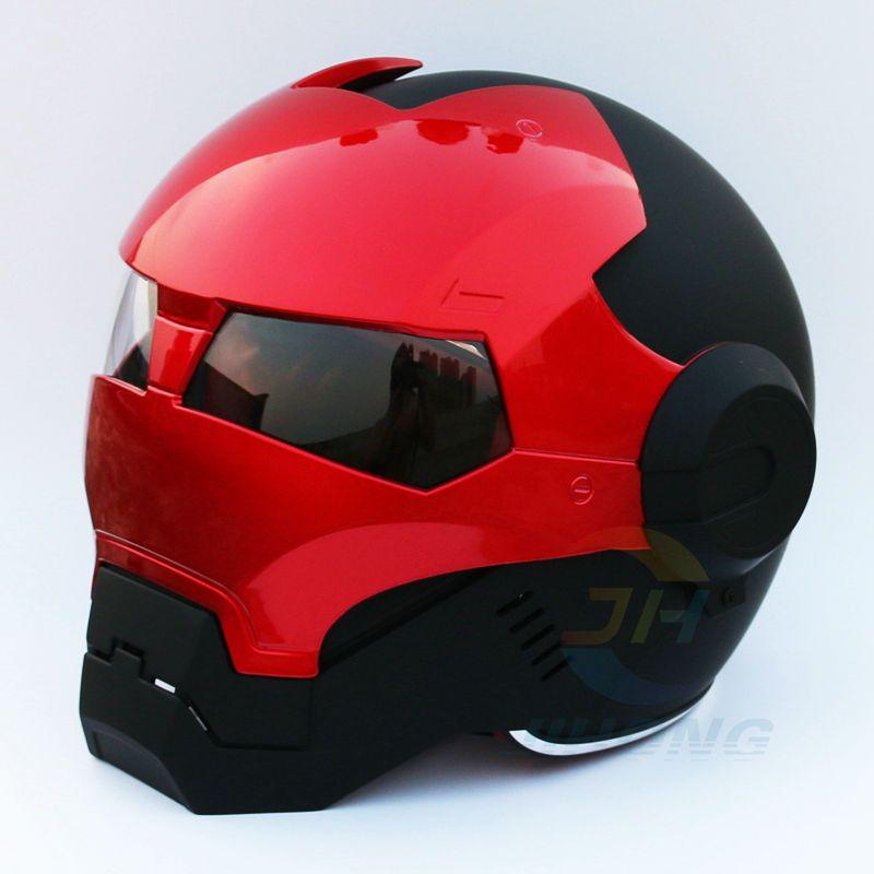 2016 New Matte Black & Red Masei Mens womens IRONMAN Iron Man helmet motorcycle half helmet open face helmet ABS casque motocros
