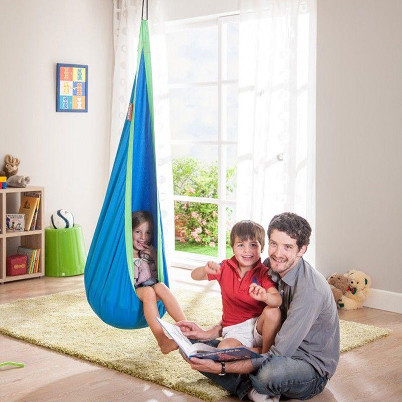 Niños Hamaca Cojín Inflable Jardín Silla Del Oscilación de Interior Al Aire Libre Colgando Asiento Infantil Asiento Del Columpio Patio Muebles Hamaca Azul