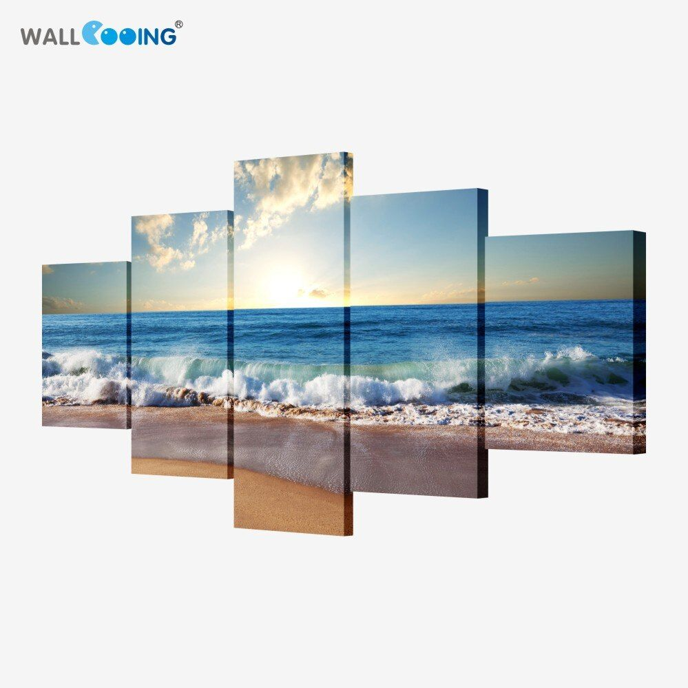 5 piece canvas art <font><b>picture</b></font> modular Sea painting modern <font><b>pictures</b></font> on the wall for the kitchen home wall art decoration Waterproof
