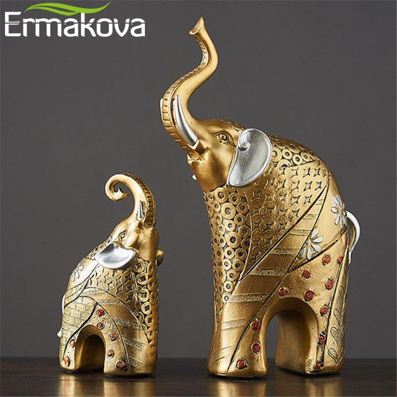 ERMAKOVA 2 pcs/paire Résine mère et enfant Éléphant Statue Figurine Éléphant Animal Ornement De Mariage Cadeau décoration d'intérieur
