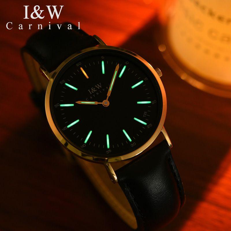 KARNEVAL High-end-Frauen uhren mode ultradünne quarzuhr mit original import Schweizer bewegung, tritium leucht Reloj mujer