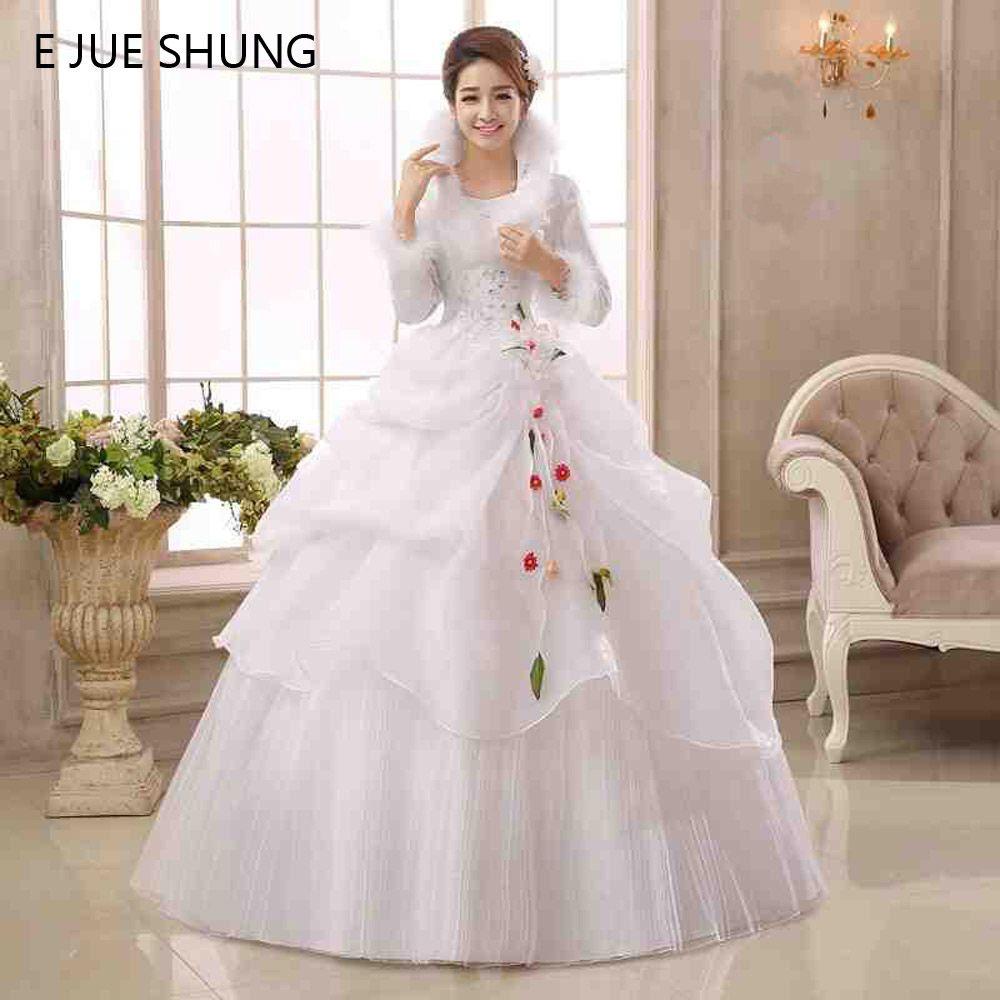 E JUE SHUNG White Organza Long Sleeves Cheap Wedding Dresses 2017 Winter Warm Wedding Gowns Muslim Bridal Dress