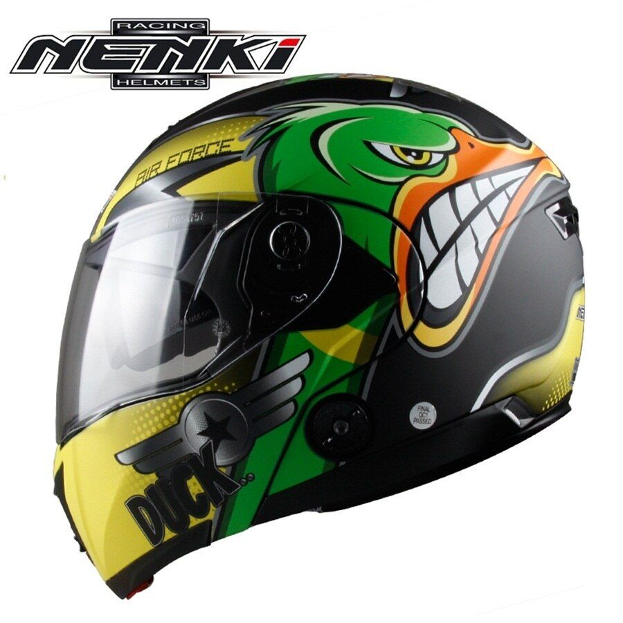 Free shipping 1pcs NENKI DOT Dual Visor Flip Up Full Face Modular Casco Racing Casque Bike Motocross Motorcycle Helmet