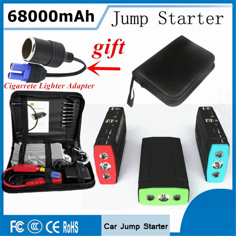Portable Starting Device 68000mAh Car Jump Starter 2USB Power Bank 400A Pack Car Battery Charger For Auto Petrol Diesel Buster