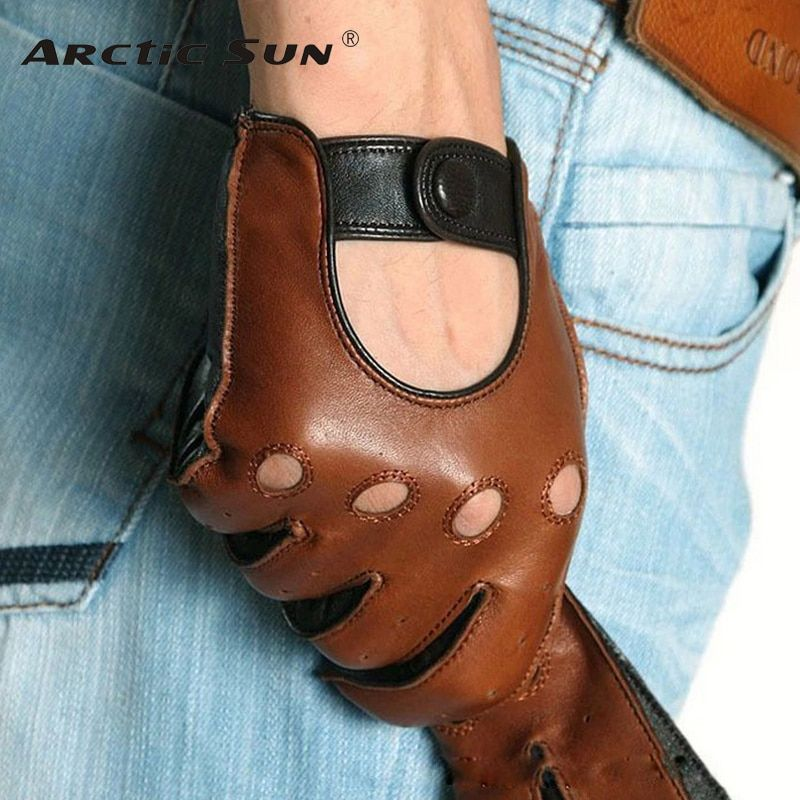 Fashion Winter Lambskin Leisure Men Genuine Leather Gloves Wrist Breathable Solid Sheepskin Driving Glove Free Shipping M023w
