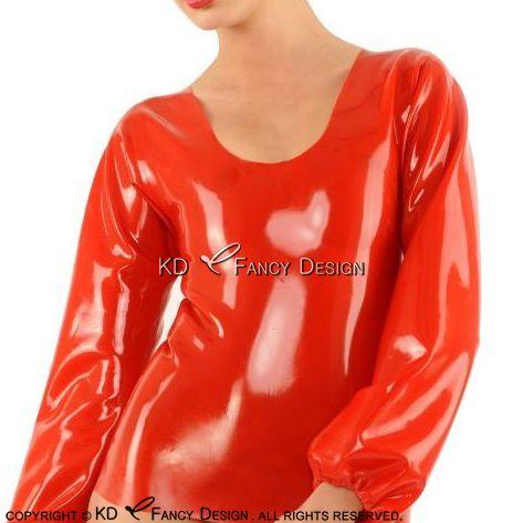 Red Sexy Langen Ärmeln Mit Elastischem Band Auf Manschetten Latex Bluse Gummi Hemd Top Kleidung YF-0107
