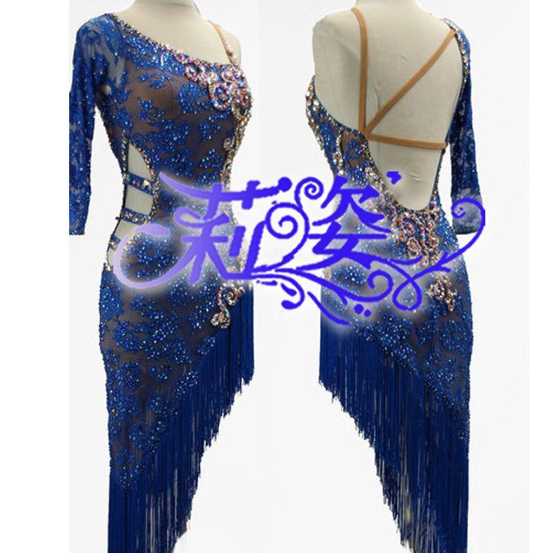 Quaste Latin Dance Kleid Kleidung Mädchen Salsa Kostüm Ballroom Wettbewerb Rock