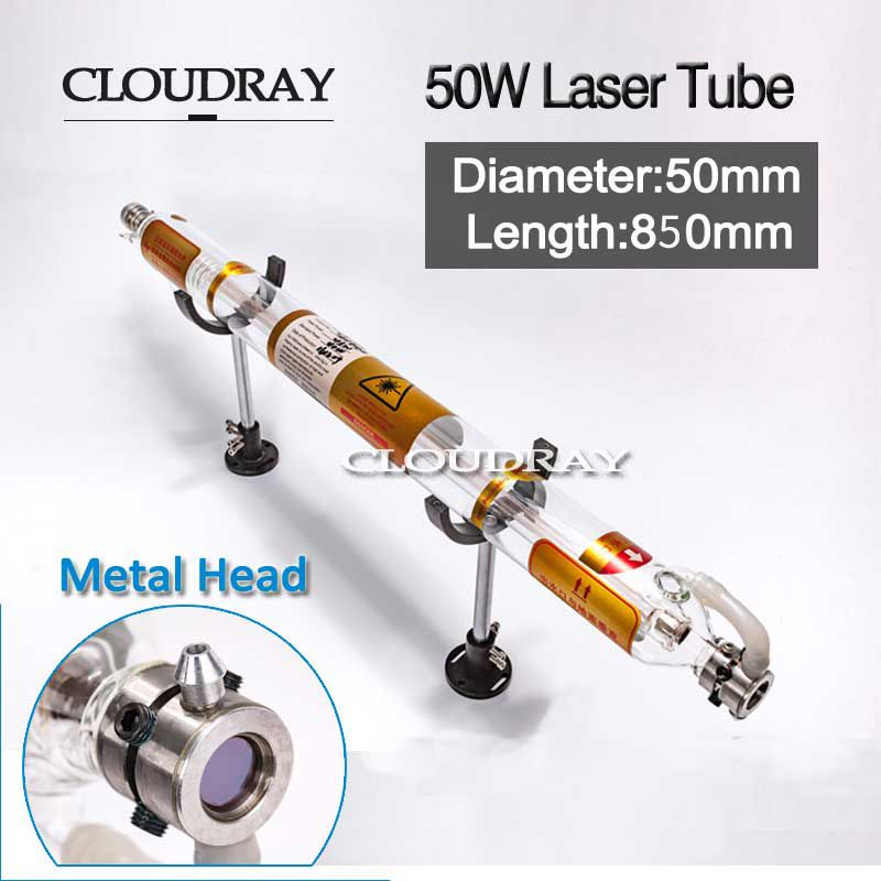 Cloudray 50W Laser Tube Glass Metal Head 50W 850MM Diameter 50mm For CO2 Laser Engraving Cutting Machine