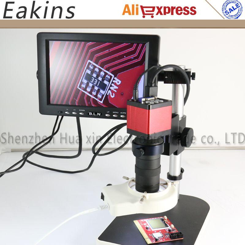 Haute vitesse 60 images sans mouvement image fantôme 13MP HDMI VGA caméra Microscop industrielle + objectif 130X + lumière LED + support de support + moniteur LCD 8