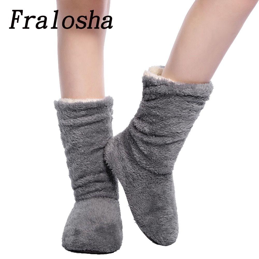 Fralosha Dropshipping и оптовая торговля Для женщин плюшевые домашняя обувь коралловый флис, домашние носки-тапочки зимние Утеплитель для ног на мягк...