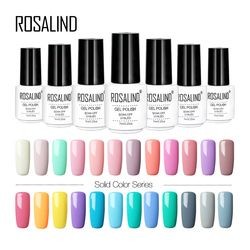 ROSALIND Gel 1 7 ml Pur Couleur Gel Nail Set Polonais Pour Manucure UV LED Gel Vernis Hybride Nail Extension base Coat Top Nail Art
