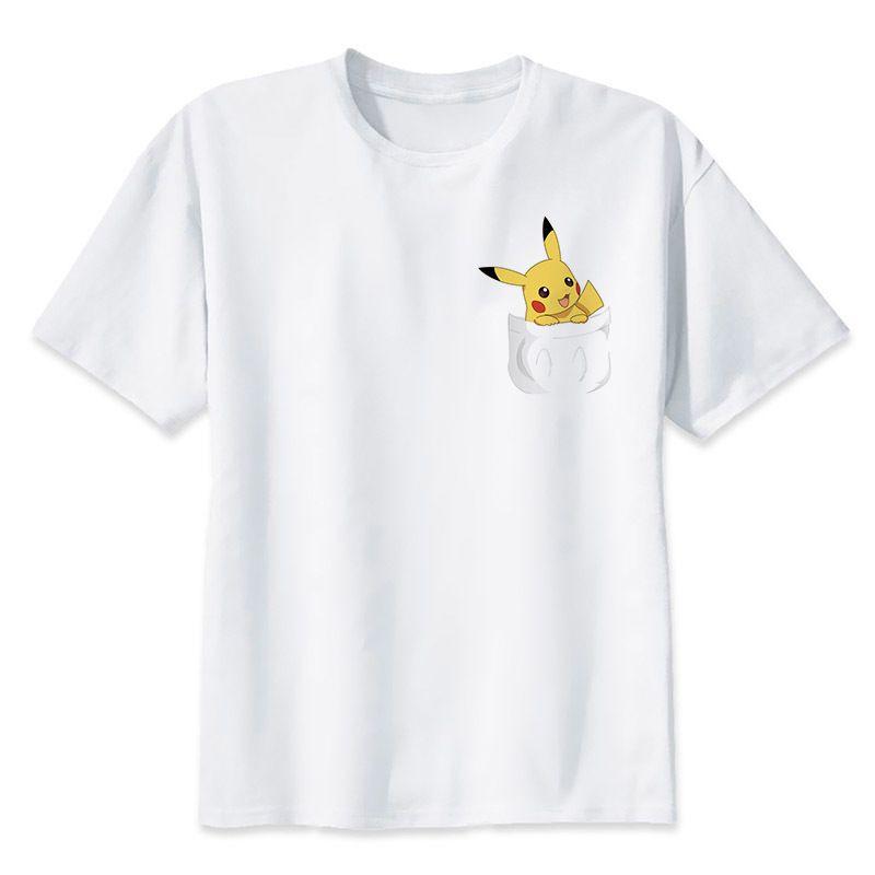 Mode Schöne Pokemon Gehen T-shirt Anime Pika Männer T-Shirts Pikachu Junge T Shirt Kurzarm Plus Size Boy Tees Top