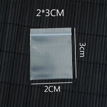 0.2mm Thick Plastic PE Zip Lock 2x3cm Packaging Bags 100pcs Transparent Jewelry Packaging Bags Button Plastic Bag