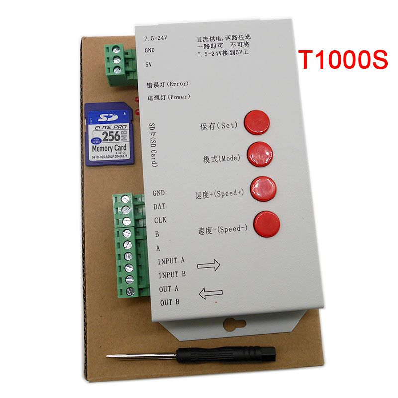 LED T1000S 128 SD Card Pixels Controller,DC5~24V,for WS2801 WS2811 WS2812B LPD6803 LED 2048 strip light lamp