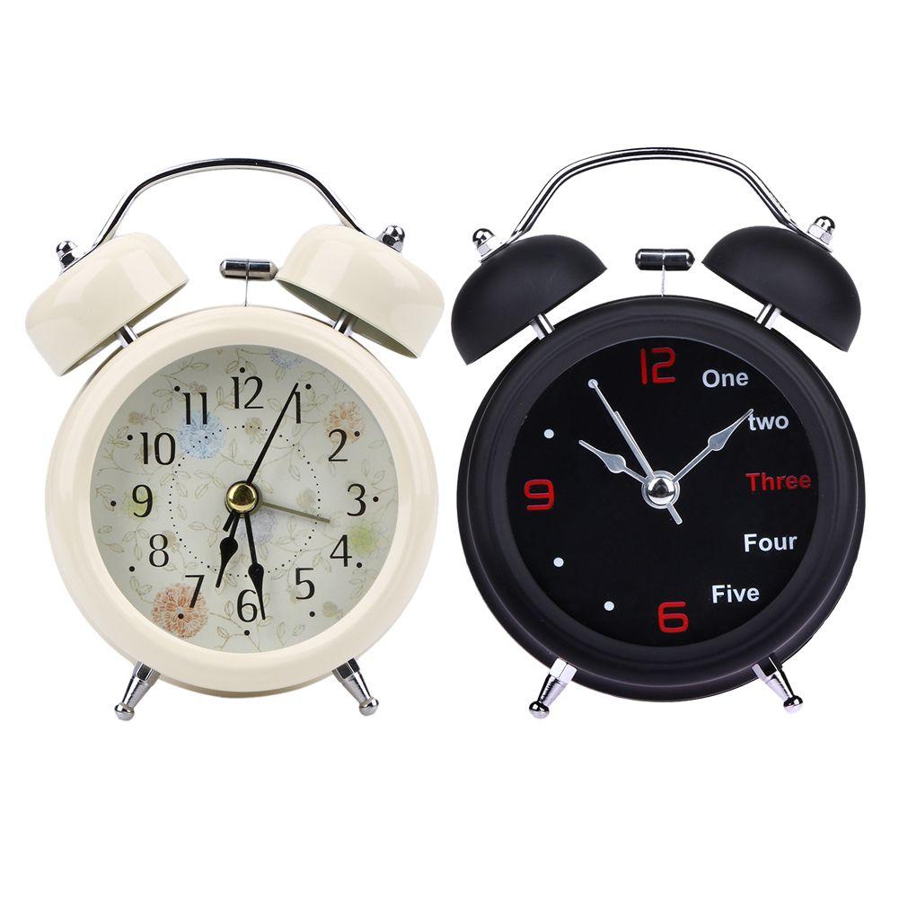 Mechanical Alarm Clock Round Metal Desktop Clock Retro Double Bell Table Clock Light Design Alarms Black White