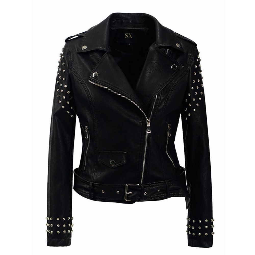 New 2018 Autumn fashion women rivet motorcycle PU faux leather plus size Jacket studded outerwear streetwear Gothic jackets