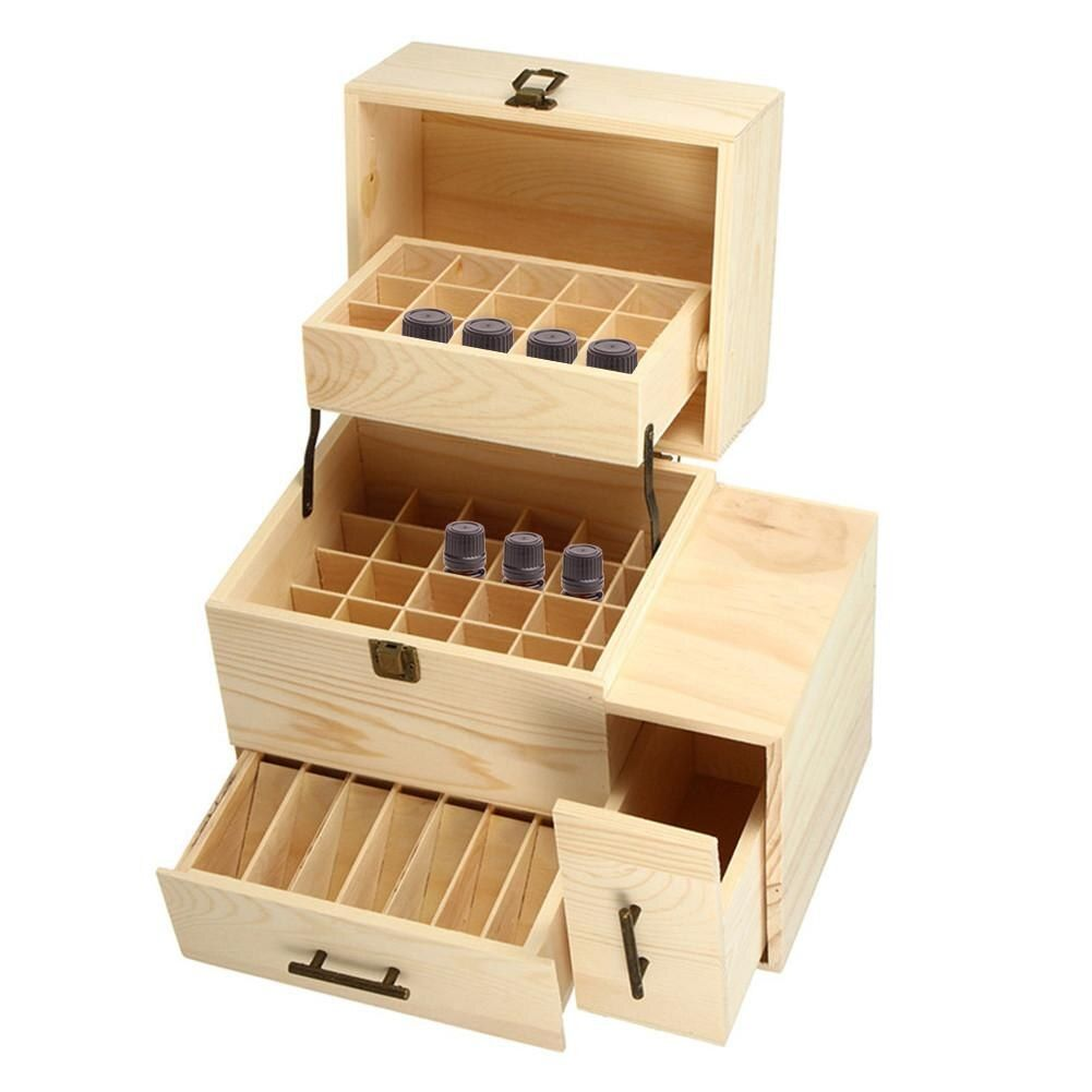 3 Layers Wooden Storage Box Carry Organizer Storage Box Essential Oil Bottles Aromatherapy Container Metal Lock Jewelry Treasure