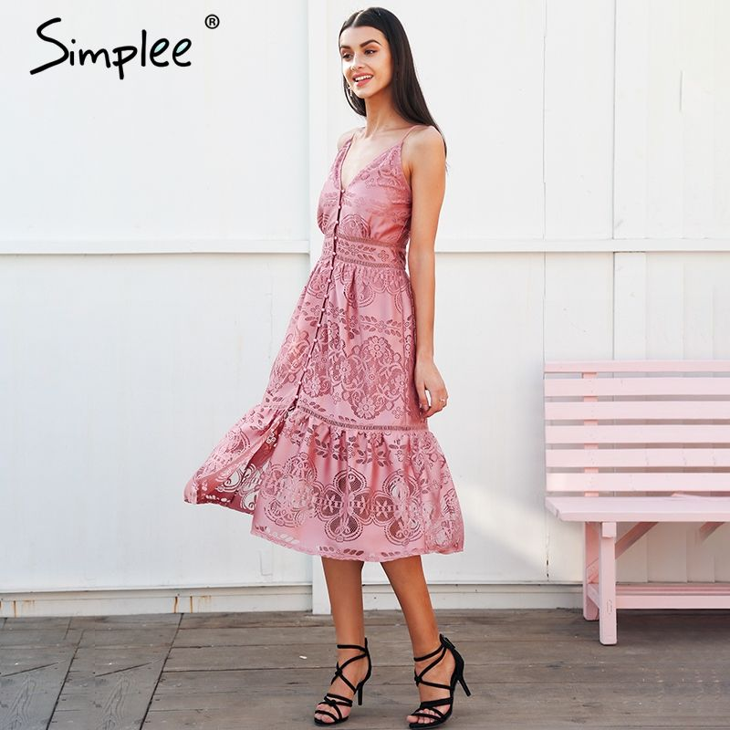 Simplee Strap backless long summer dress women V neck button sexy lace dress female Streetwear casual white dress vestidos 2018