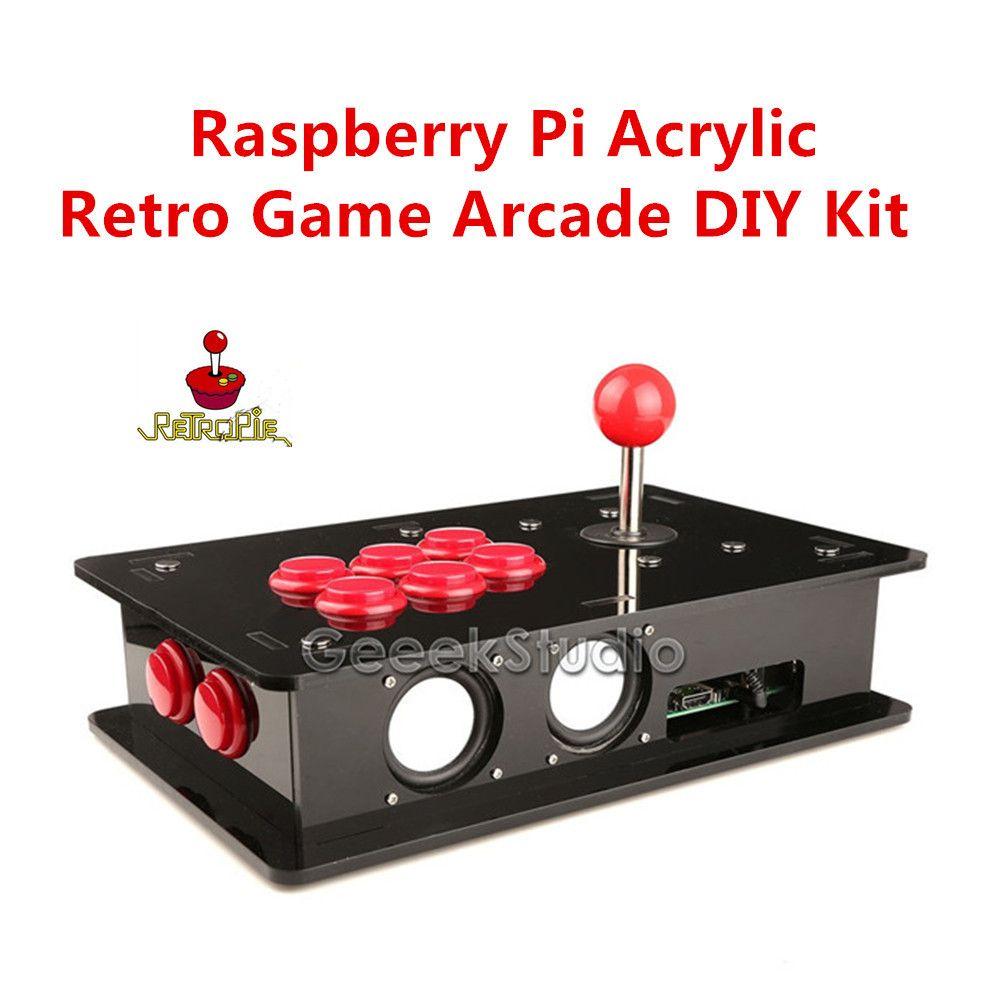 Raspberry Pi 3 Acrylique Rétro Jeu Arcade DIY Kit avec USB Joystick Contrôle Conseil et Joystick & Push Boutons et Acrylique Boîte