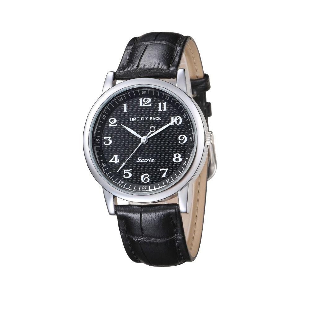 2018 Men's watch clock Vintage Quartz Waterproof Counterclockwise Watch Student Watch Black Dial Watch Leather Strap