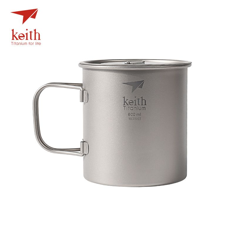 Keith Outdoor Titanium Water Mugs With Folding Handles Titanium Lids Drinkware Camping Cups Ultralight Travel Mug 300ml-900ml